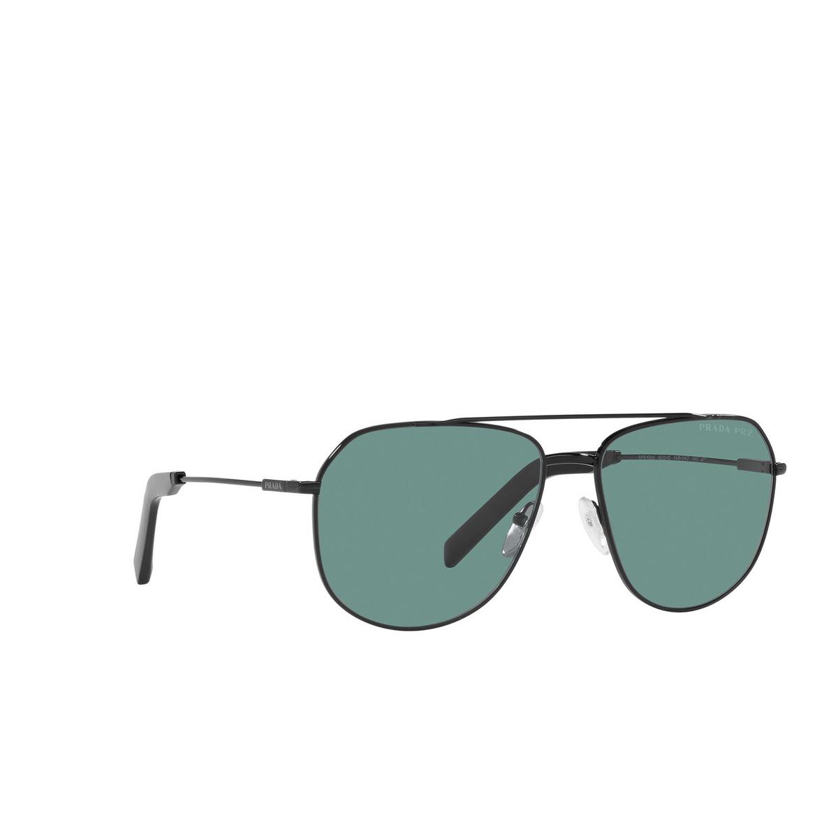 Prada® Aviator Sunglasses: PR 59WS color Black 1AB04D - three-quarters view.
