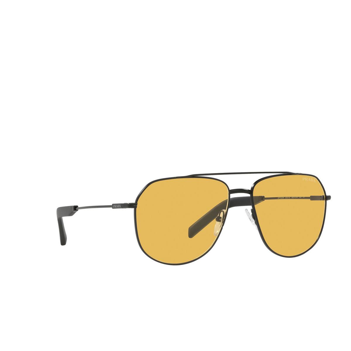 Prada® Aviator Sunglasses: PR 59WS color Matte Black 1BO07M - three-quarters view.