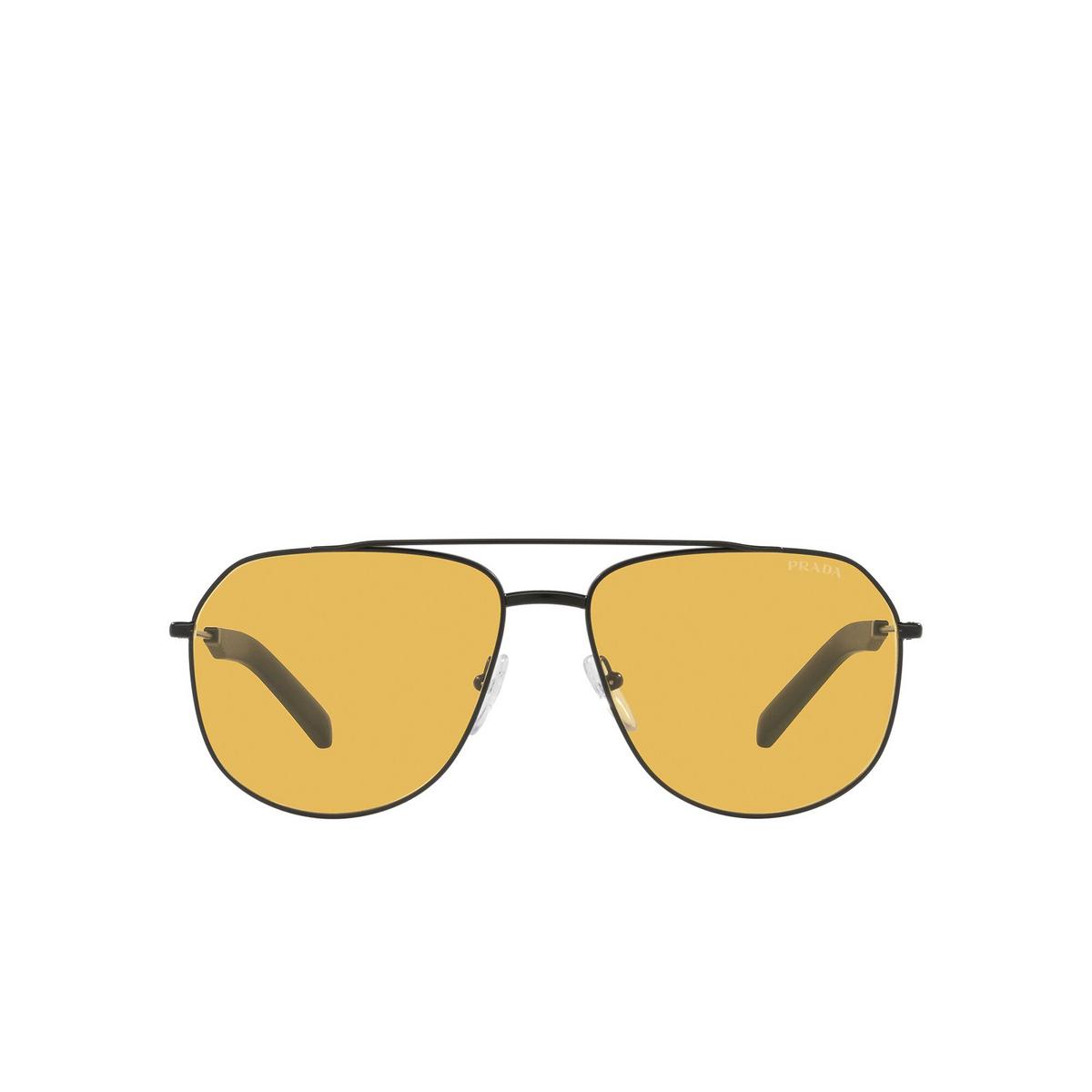 Prada® Aviator Sunglasses: PR 59WS color Matte Black 1BO07M - front view.