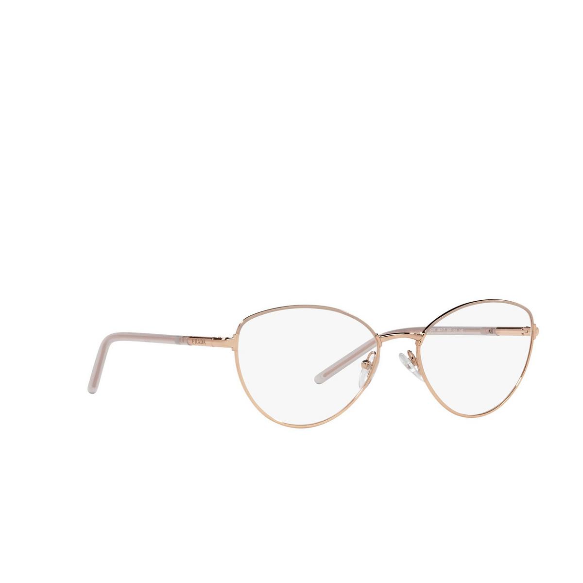 Prada® Butterfly Eyeglasses: PR 62WV color Powder / Pink Gold 05R1O1 - three-quarters view.