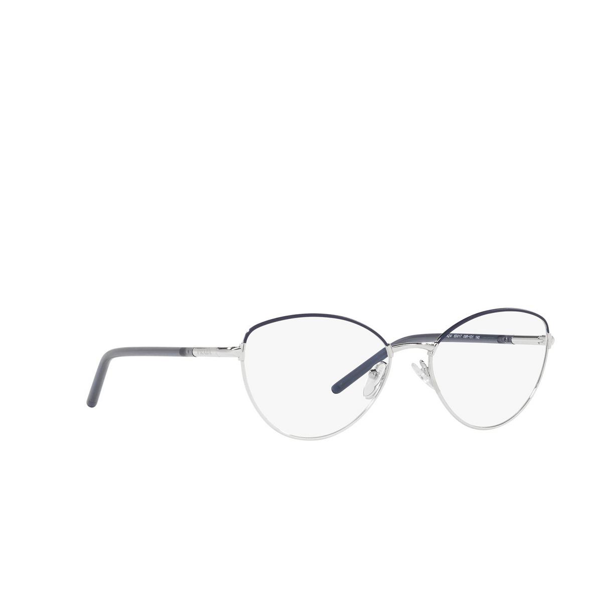 Prada® Butterfly Eyeglasses: PR 62WV color Bluette / Silver 09R1O1 - three-quarters view.