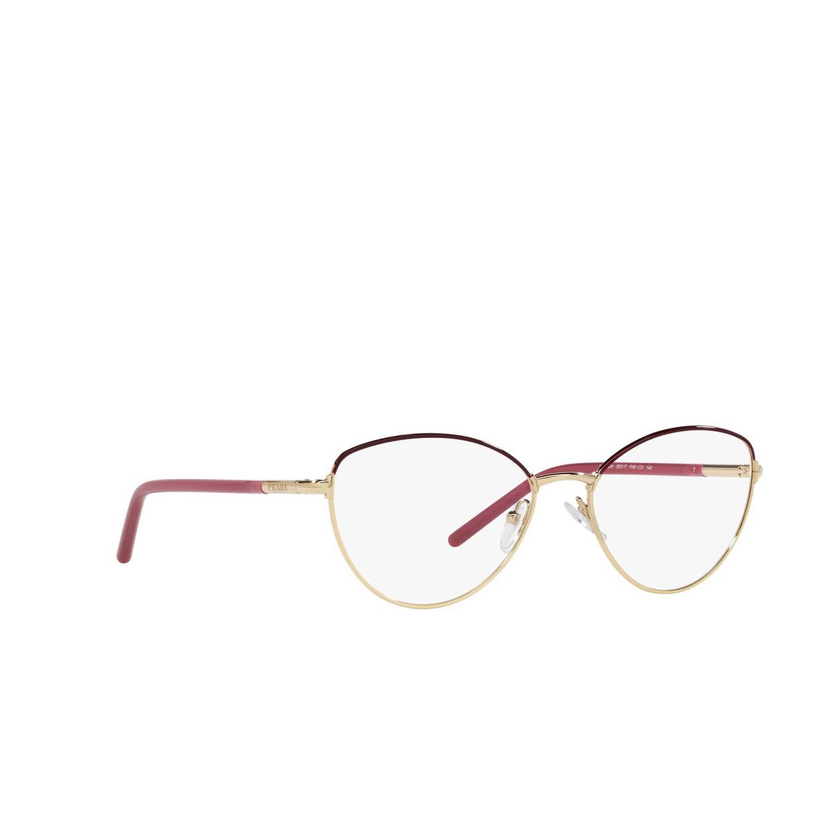 Prada® Butterfly Eyeglasses: PR 62WV color Bordeaux / Gold FHX1O1 - three-quarters view.