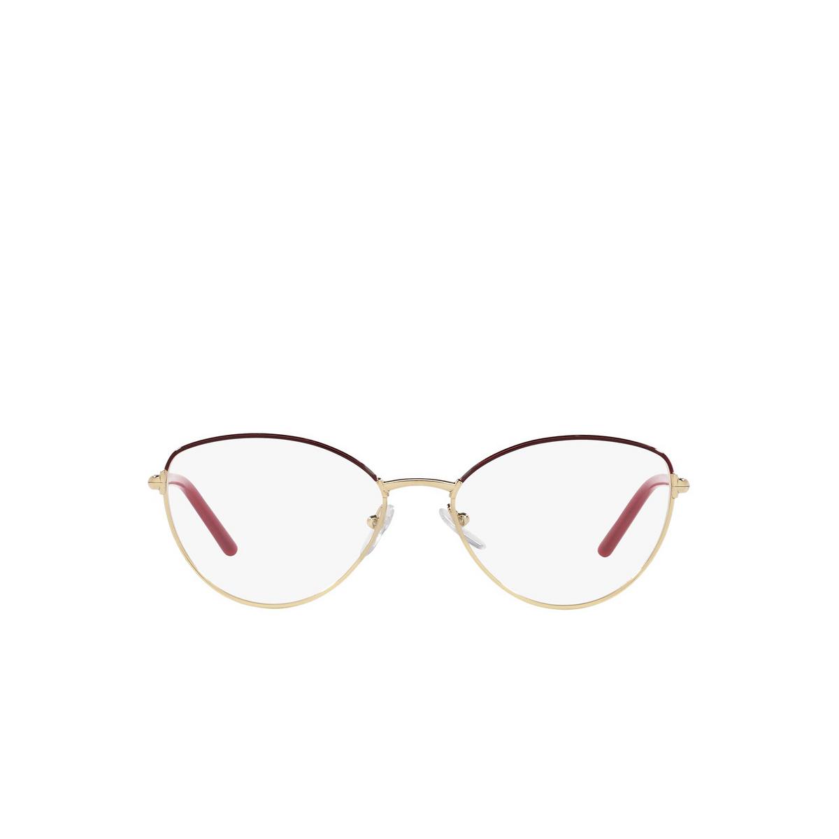 Prada® Butterfly Eyeglasses: PR 62WV color Bordeaux / Gold FHX1O1 - front view.