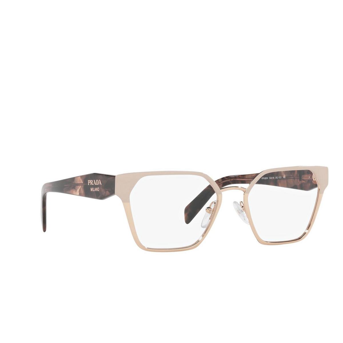 Prada® Irregular Eyeglasses: PR 63WV color Powder/ Pink Gold 05L1O1 - three-quarters view.