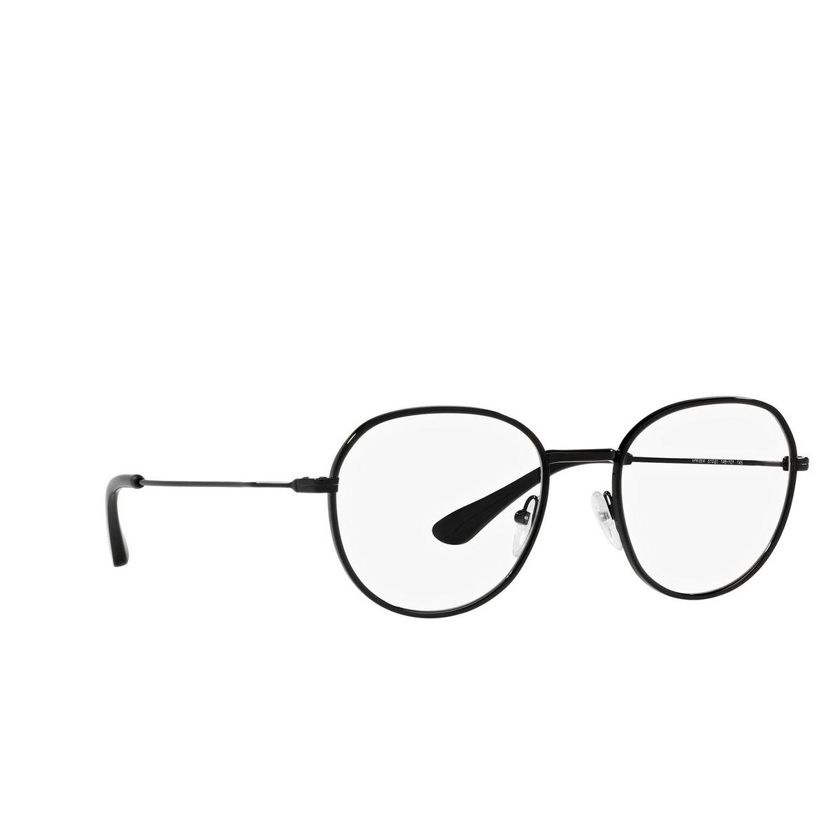 Prada® Oval Eyeglasses: PR 65WV color Matte Black 1BO1O1 - three-quarters view.
