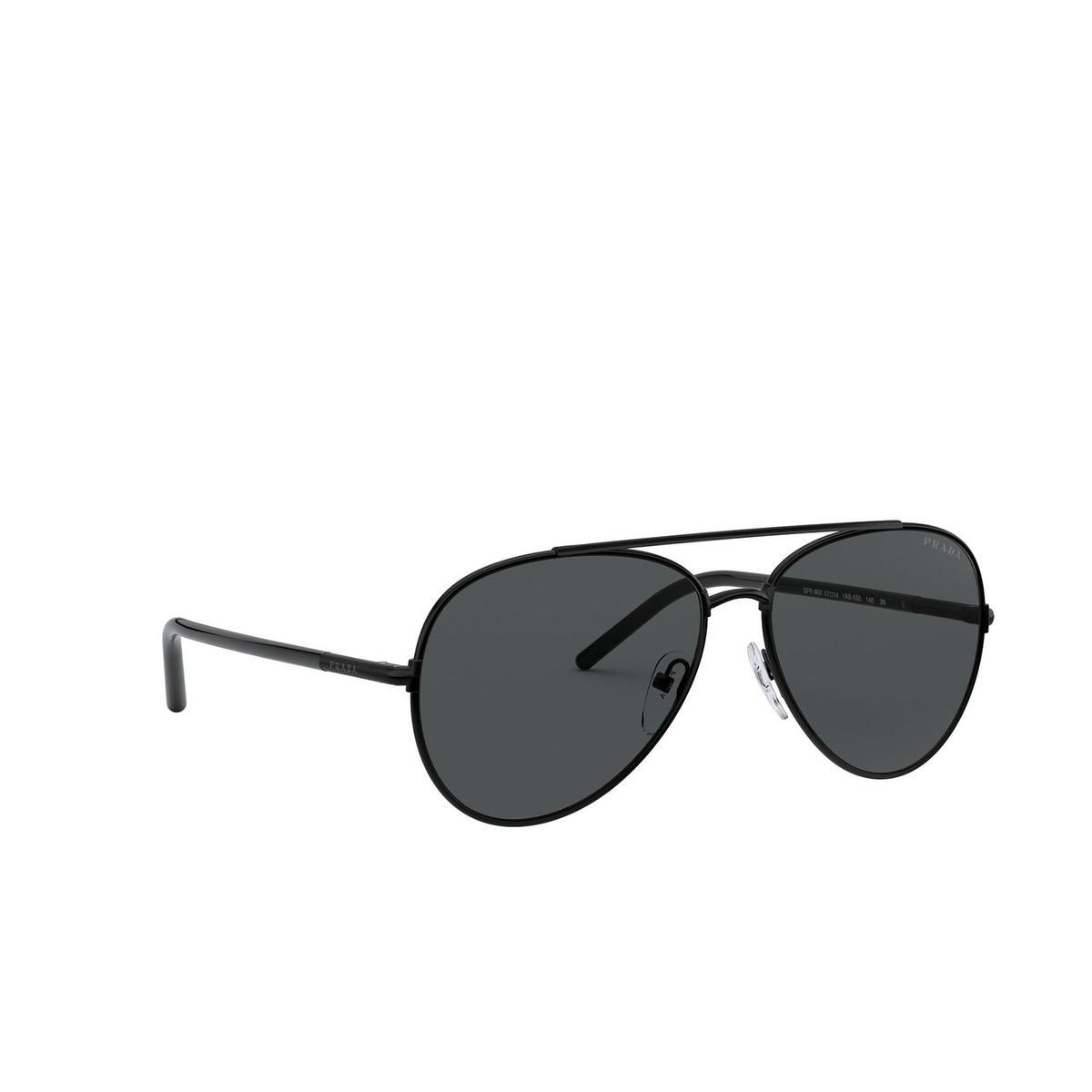 Prada® Aviator Sunglasses: PR 66XS color Black 1AB5S0 - three-quarters view.