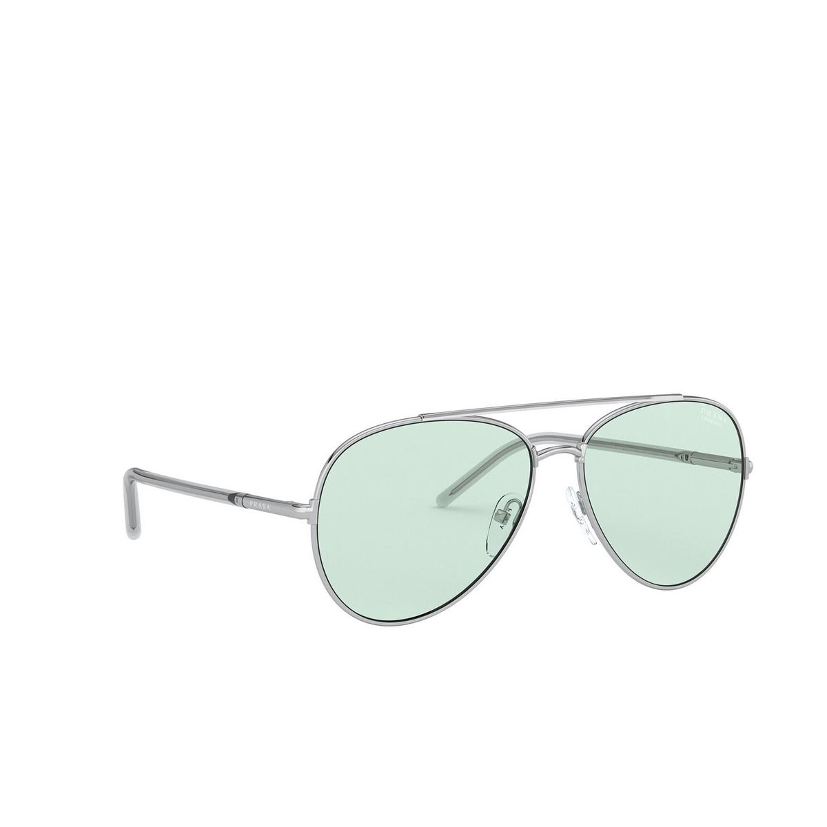 Prada® Aviator Sunglasses: PR 66XS color Silver 1BC08D - three-quarters view.