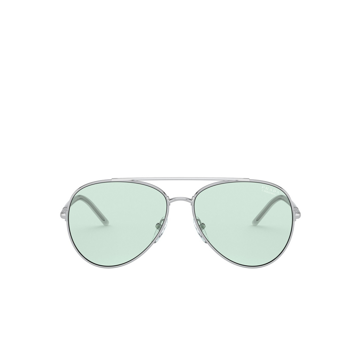 Prada® Aviator Sunglasses: PR 66XS color Silver 1BC08D - front view.