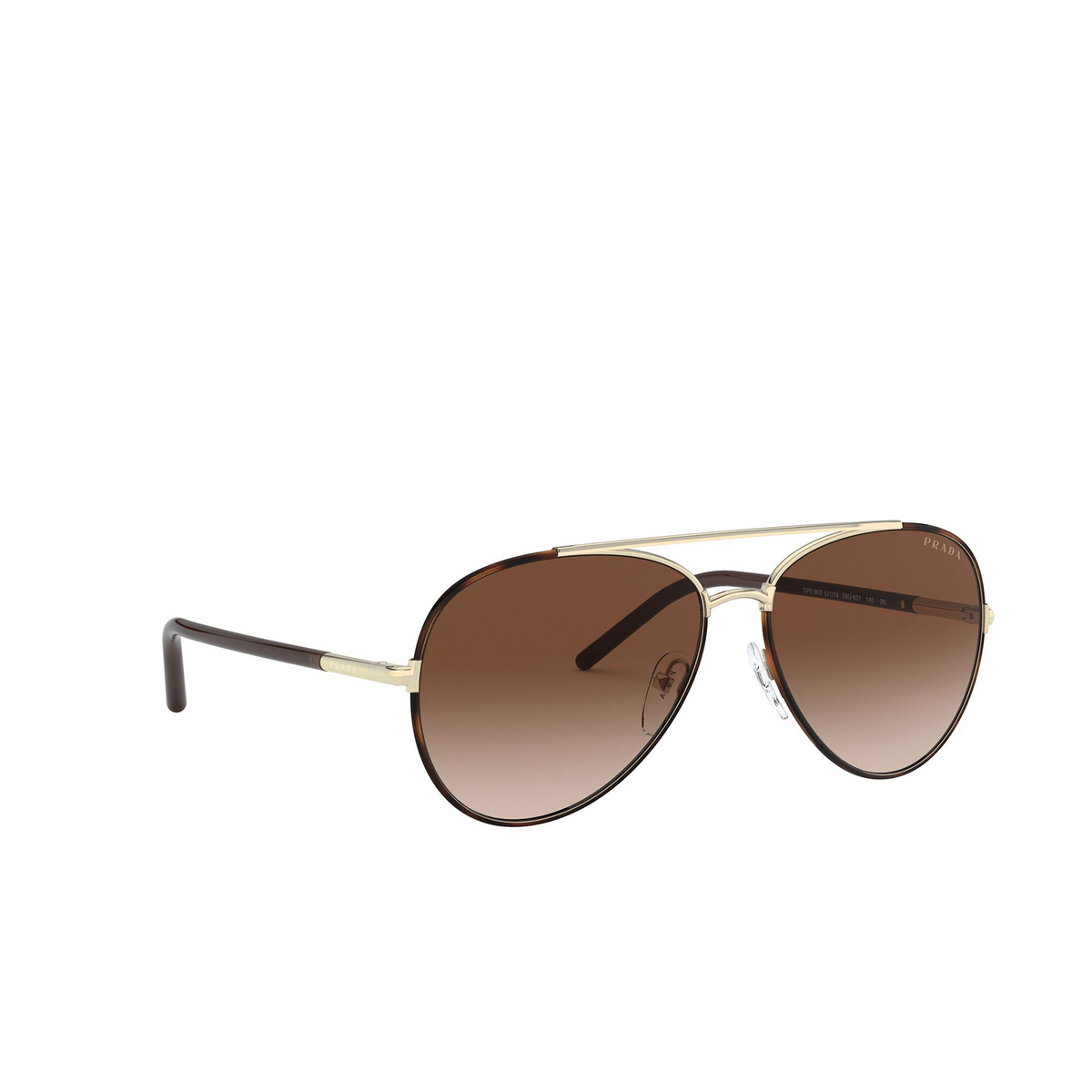 Prada® Aviator Sunglasses: PR 66XS color Havana 2AU6S1 - three-quarters view.