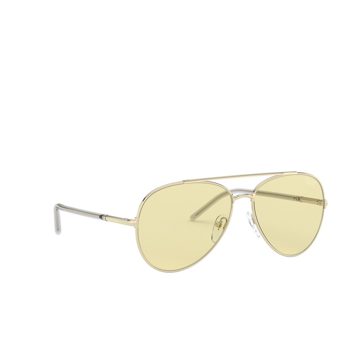 Prada® Aviator Sunglasses: PR 66XS color Pale Gold ZVN01F - three-quarters view.