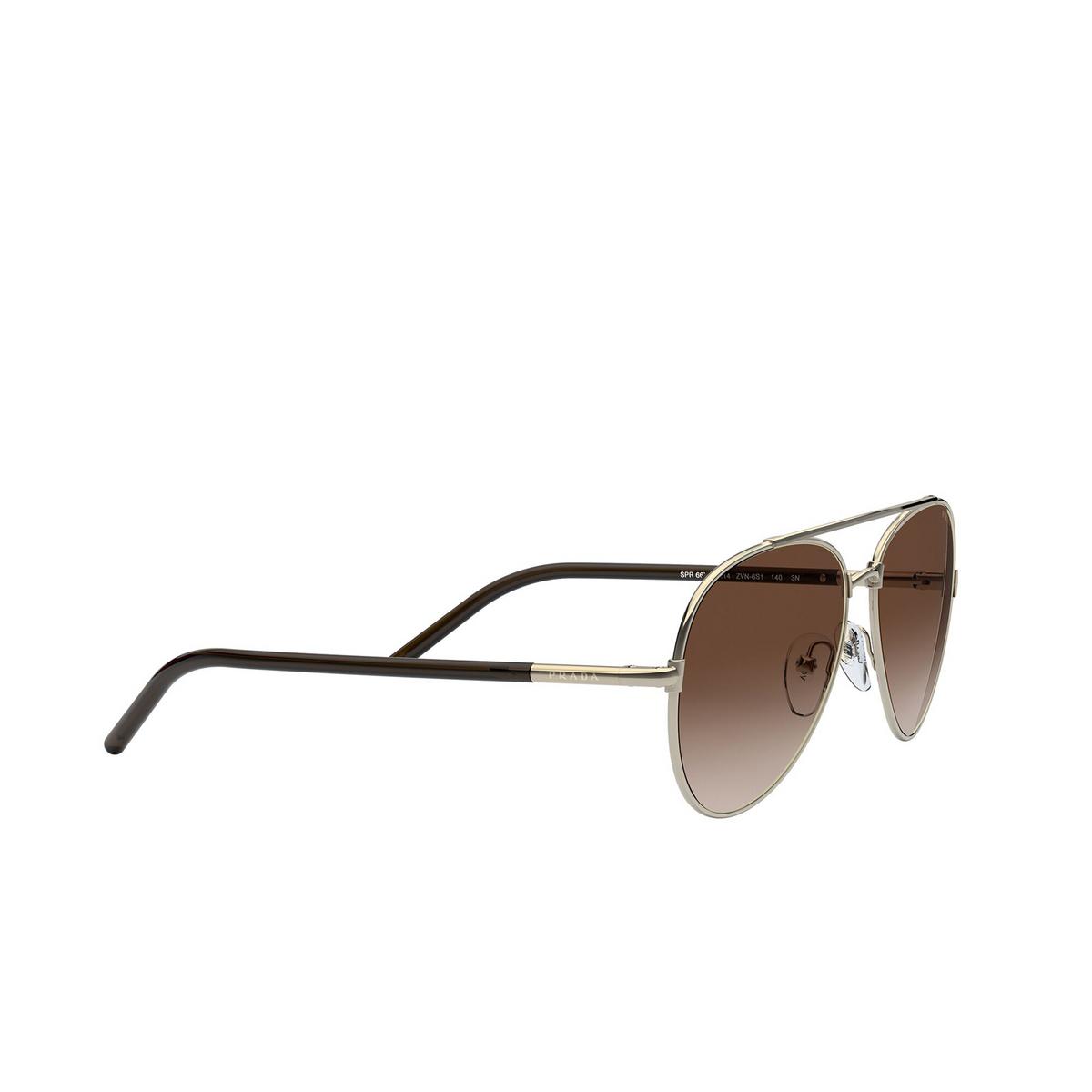 Prada® Aviator Sunglasses: PR 66XS color Pale Gold ZVN6S1 - three-quarters view.