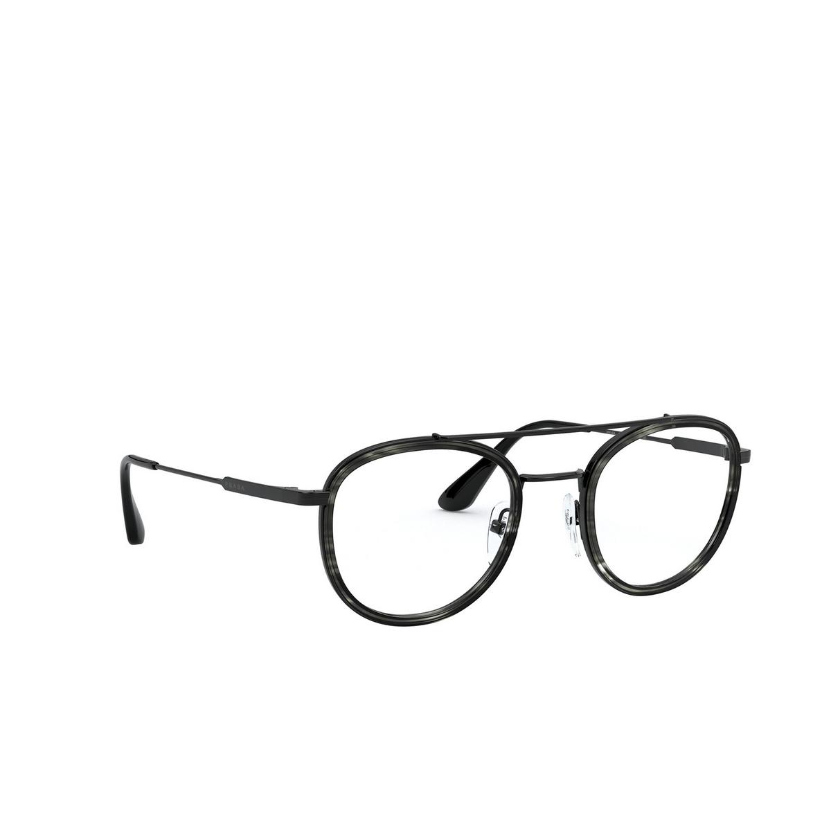 Prada® Round Eyeglasses: PR 66XV color Striped Grey / Black 05A1O1.