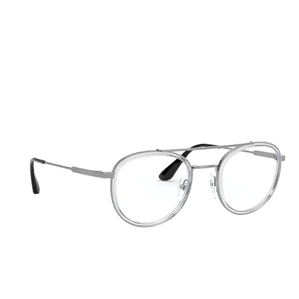 Prada® Round Eyeglasses: PR 66XV color Transparent Gunmetal 07A1O1 - three-quarters view.