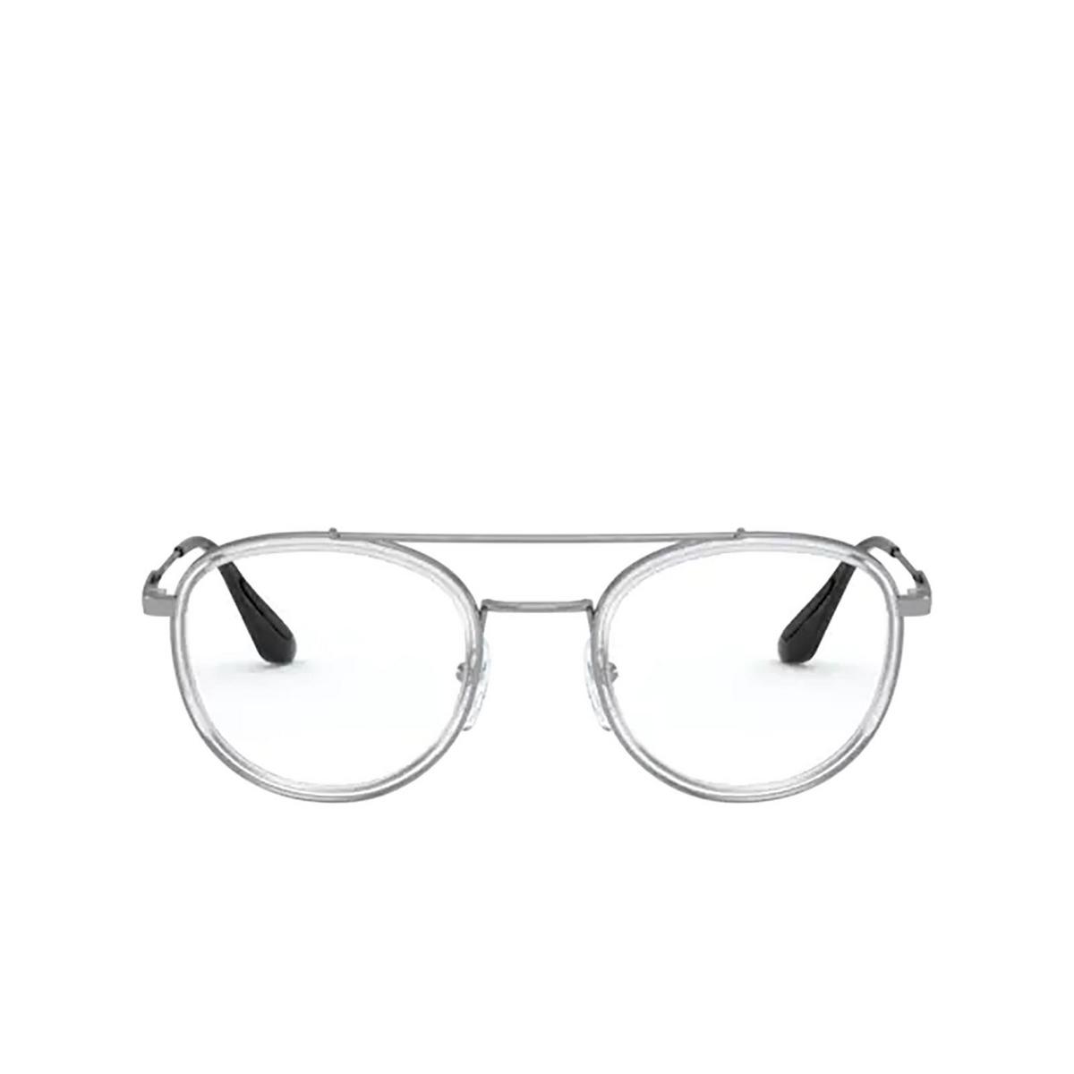 Prada® Round Eyeglasses: PR 66XV color Transparent Gunmetal 07A1O1 - front view.