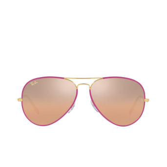Ray-Ban® Aviator Sunglasses: Aviator Full Color RB3025JM color Violet On Legend Gold 91963E.