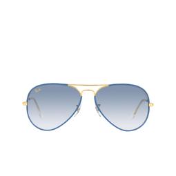 Ray-Ban® Aviator Sunglasses: Aviator Full Color RB3025JM color Light Blue On Legend 91963F.
