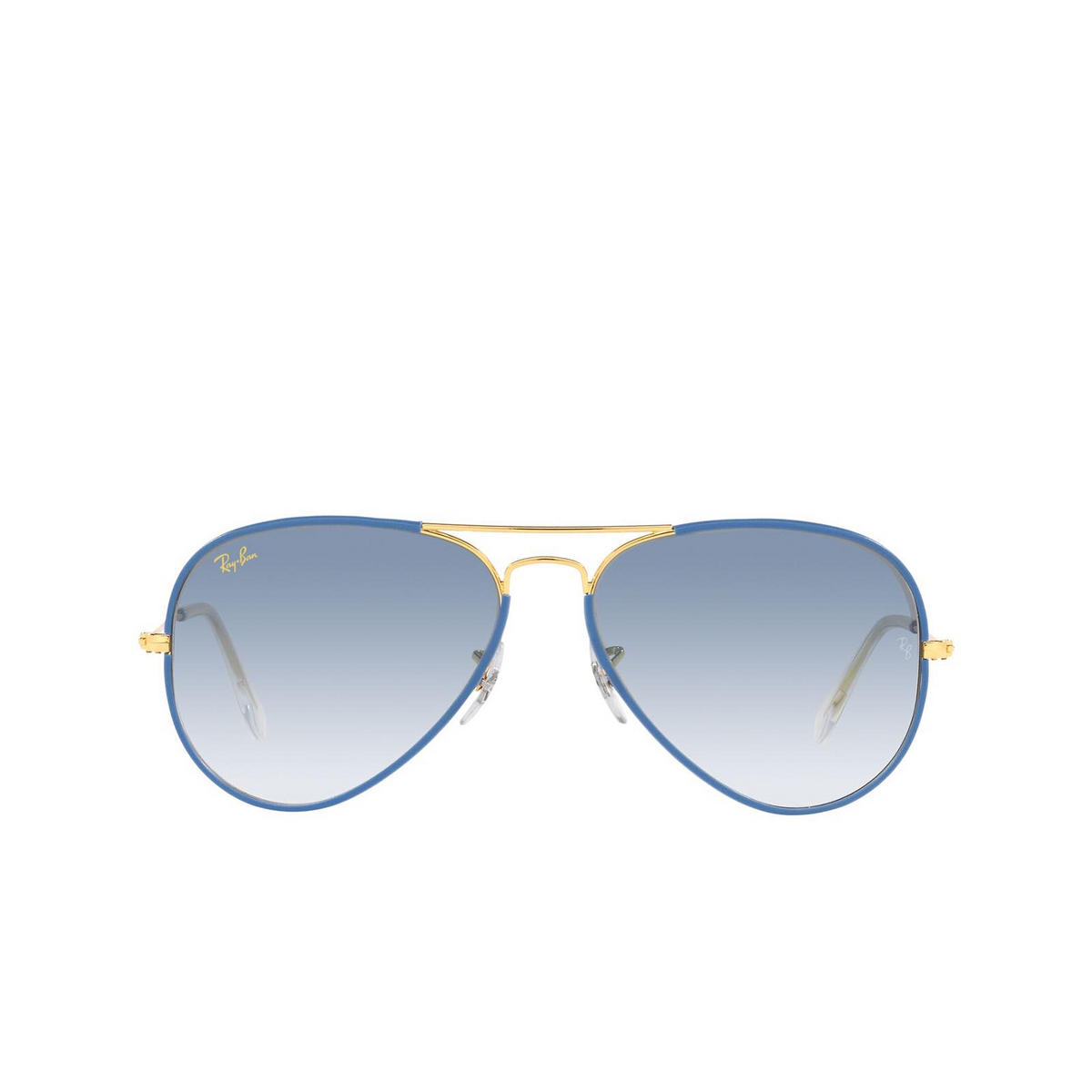 Ray-Ban® Aviator Sunglasses: Aviator Full Color RB3025JM color Light Blue On Legend 91963F - 1/3.