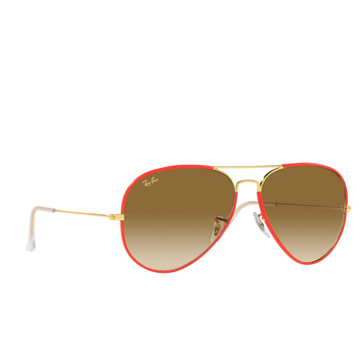 Ray-Ban® Aviator Sunglasses: Aviator Full Color RB3025JM color Red On Legend Gold 919651.