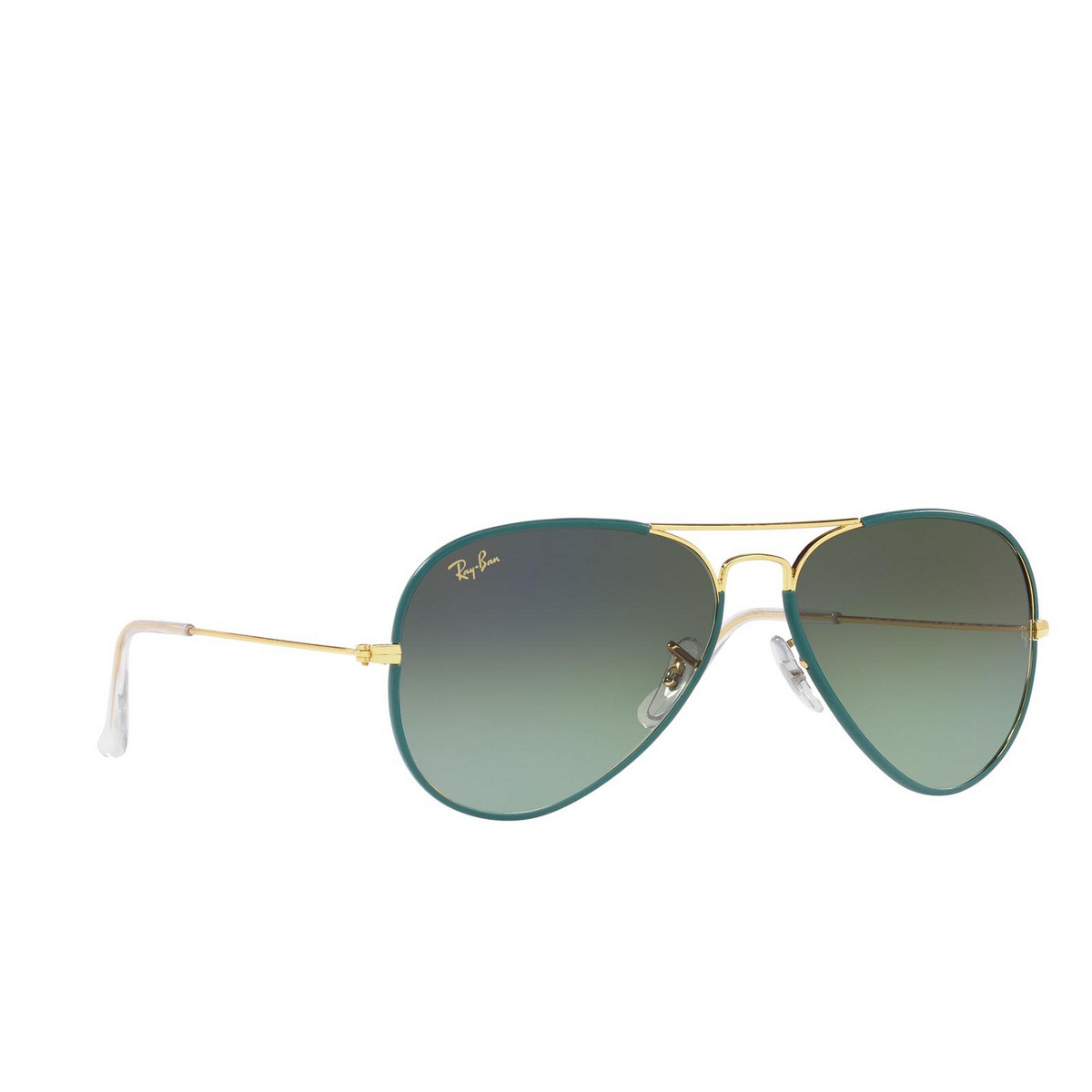 Ray-Ban® Aviator Sunglasses: Aviator Full Color RB3025JM color Petroleum On Legend Gold 9196BH.
