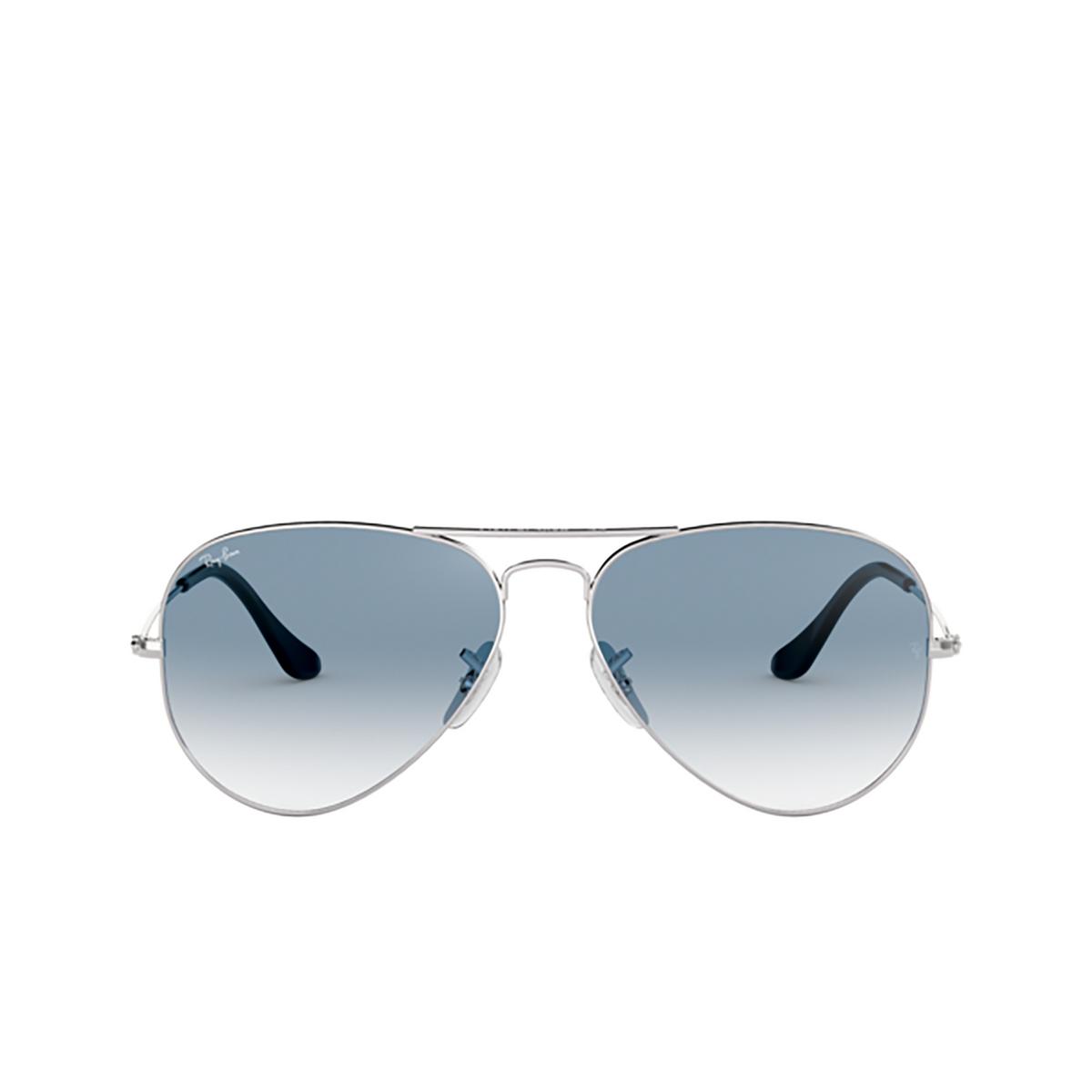 Ray-Ban® Aviator Sunglasses: Aviator Large Metal RB3025 color Silver 003/3F.