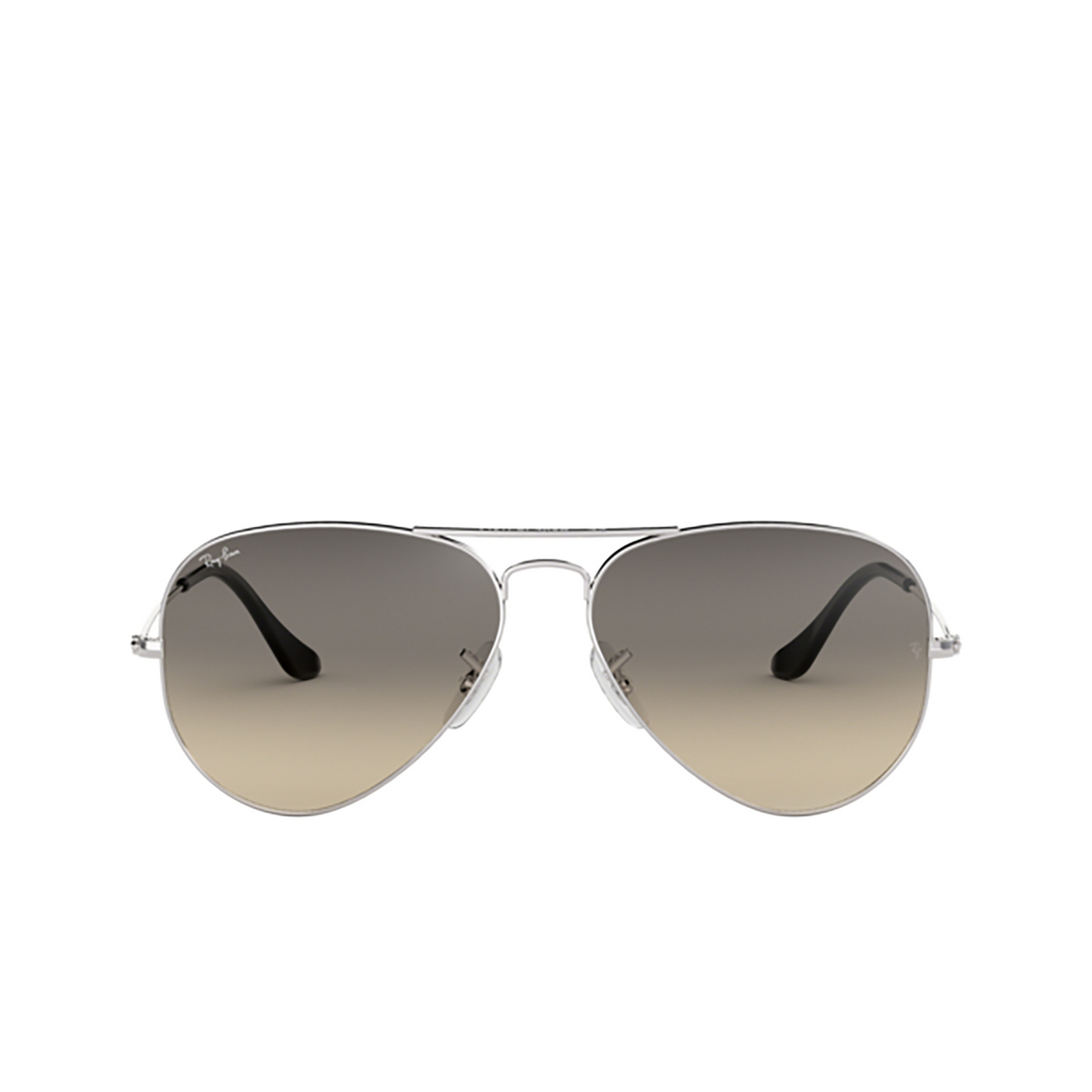 Ray-Ban® Aviator Sunglasses: Aviator Large Metal RB3025 color Silver 003/32 - front view.