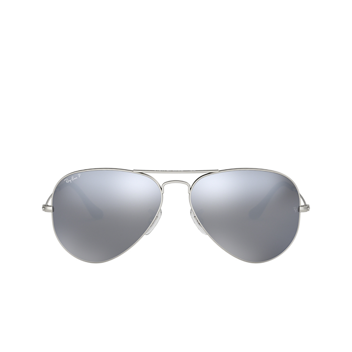 Ray-Ban® Aviator Sunglasses: Aviator Large Metal RB3025 color Matte Silver 019/W3 - front view.