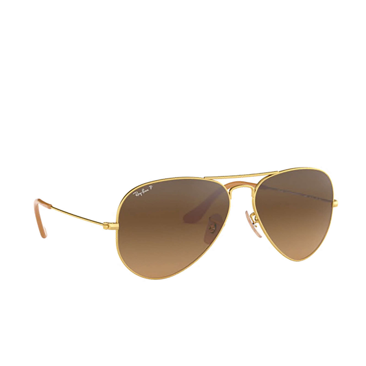 Ray-Ban® Aviator Sunglasses: Aviator Large Metal RB3025 color Matte Arista 112/M2 - three-quarters view.