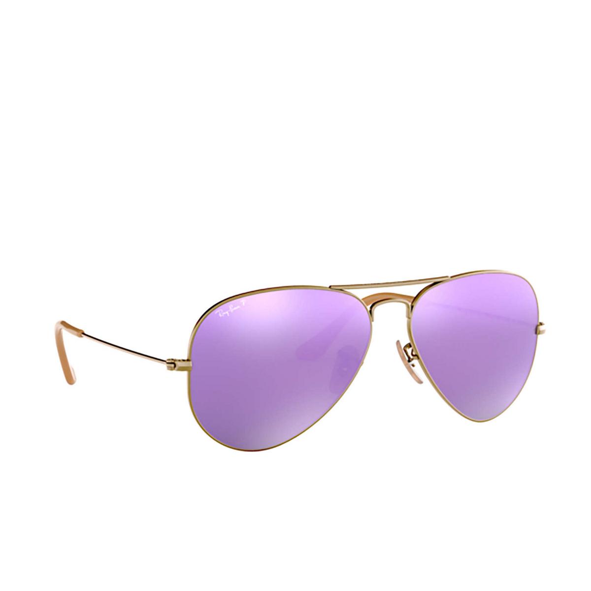 Ray-Ban® Aviator Sunglasses: Aviator Large Metal RB3025 color Demi Gloss Brushed Bronze 167/1R - three-quarters view.