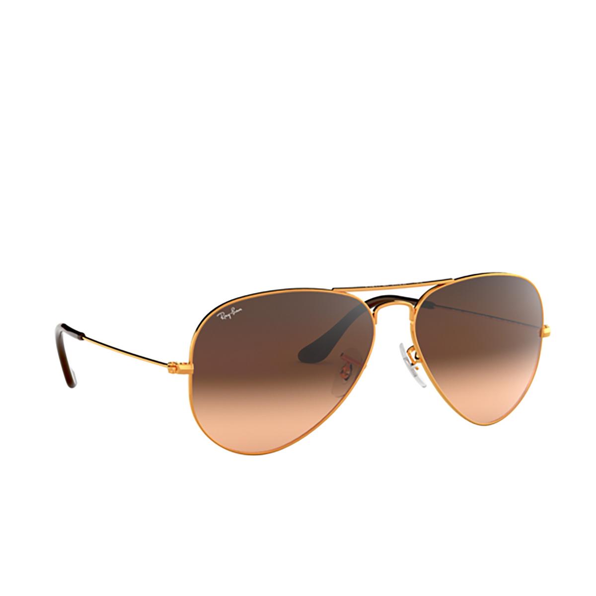 Ray-Ban® Aviator Sunglasses: Aviator Large Metal RB3025 color Light Bronze 9001A5 - three-quarters view.