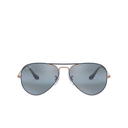 Ray-Ban® Sunglasses: Aviator Large Metal RB3025 color Matte Dark Blue On Copper 9156AJ.
