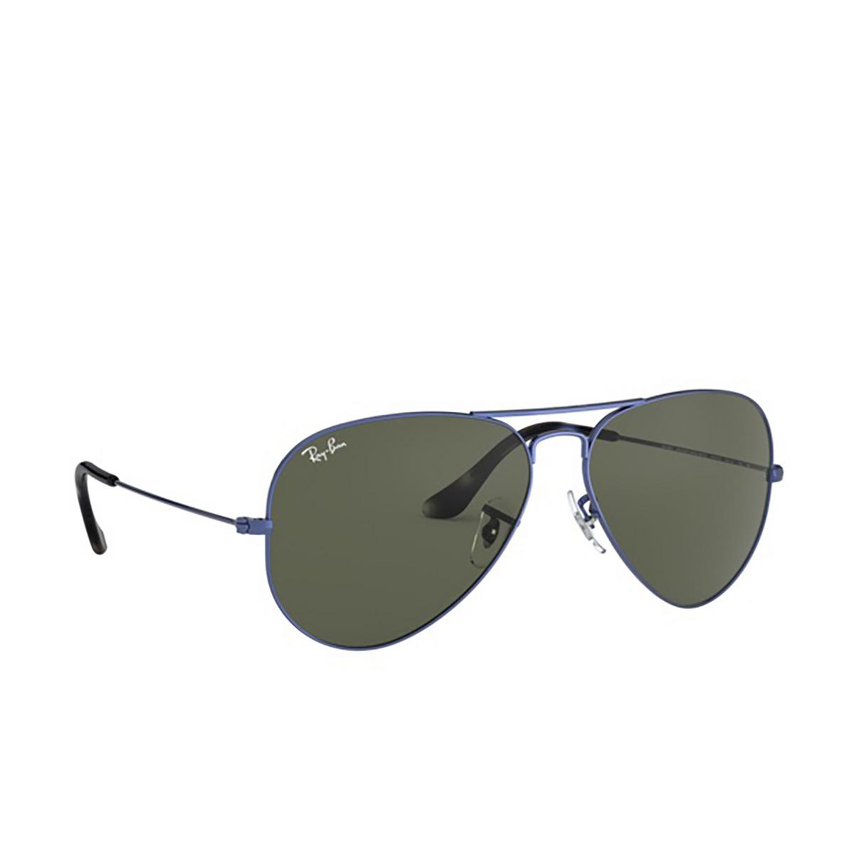 Ray-Ban® Aviator Sunglasses: Aviator Large Metal RB3025 color Sand Transparent Blue 918731 - three-quarters view.