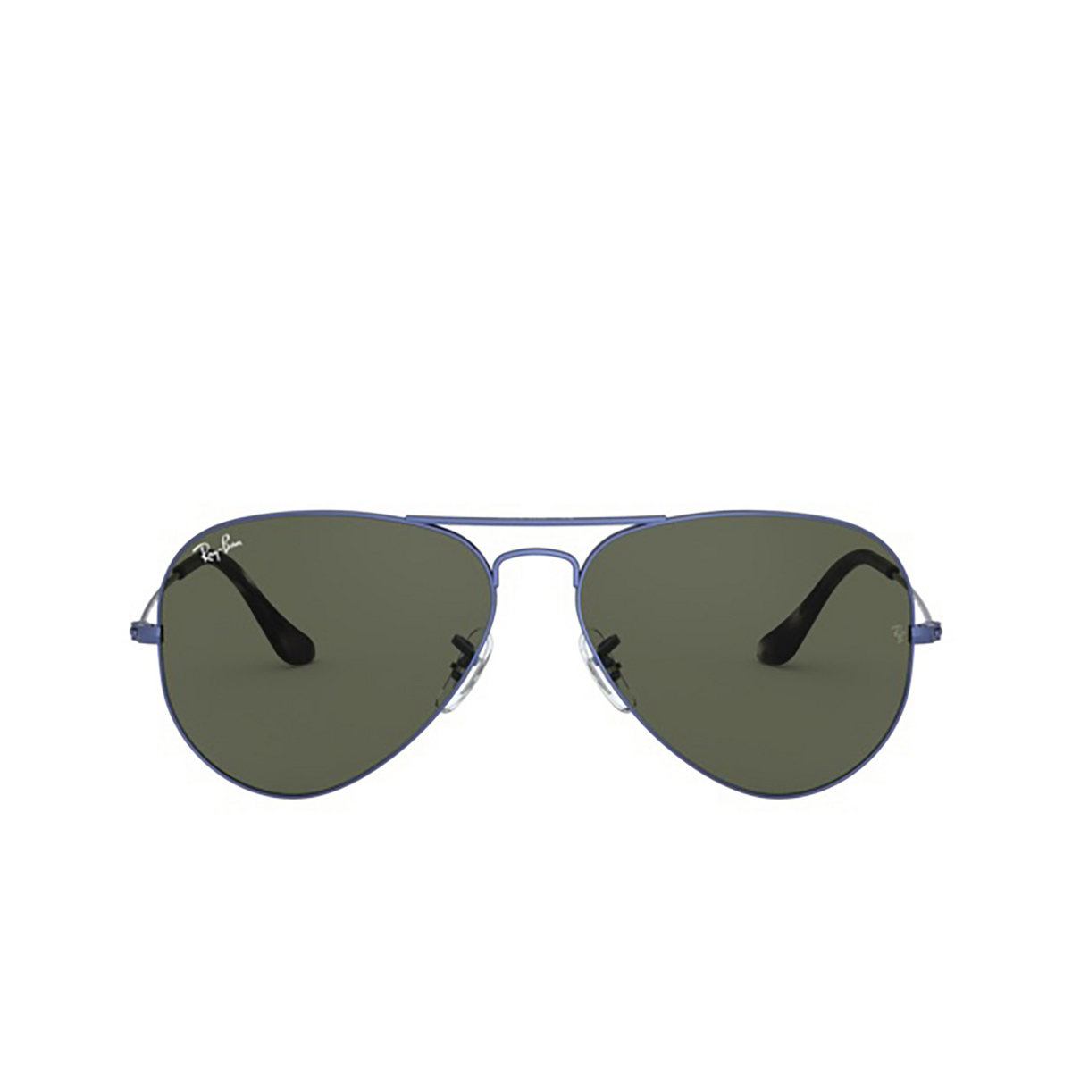 Ray-Ban® Aviator Sunglasses: Aviator Large Metal RB3025 color Sand Transparent Blue 918731 - front view.