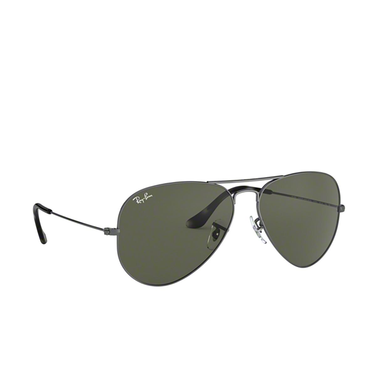 Ray-Ban® Aviator Sunglasses: Aviator Large Metal RB3025 color Sand Transparent Grey 919031 - three-quarters view.