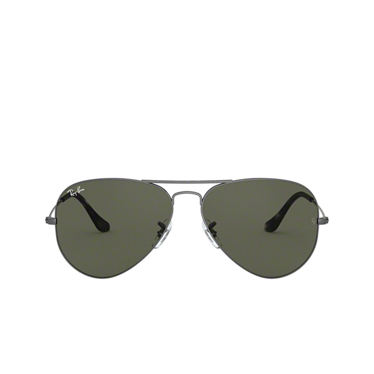 Ray-Ban® Aviator Sunglasses: Aviator Large Metal RB3025 color Sand Transparent Grey 919031 - front view.