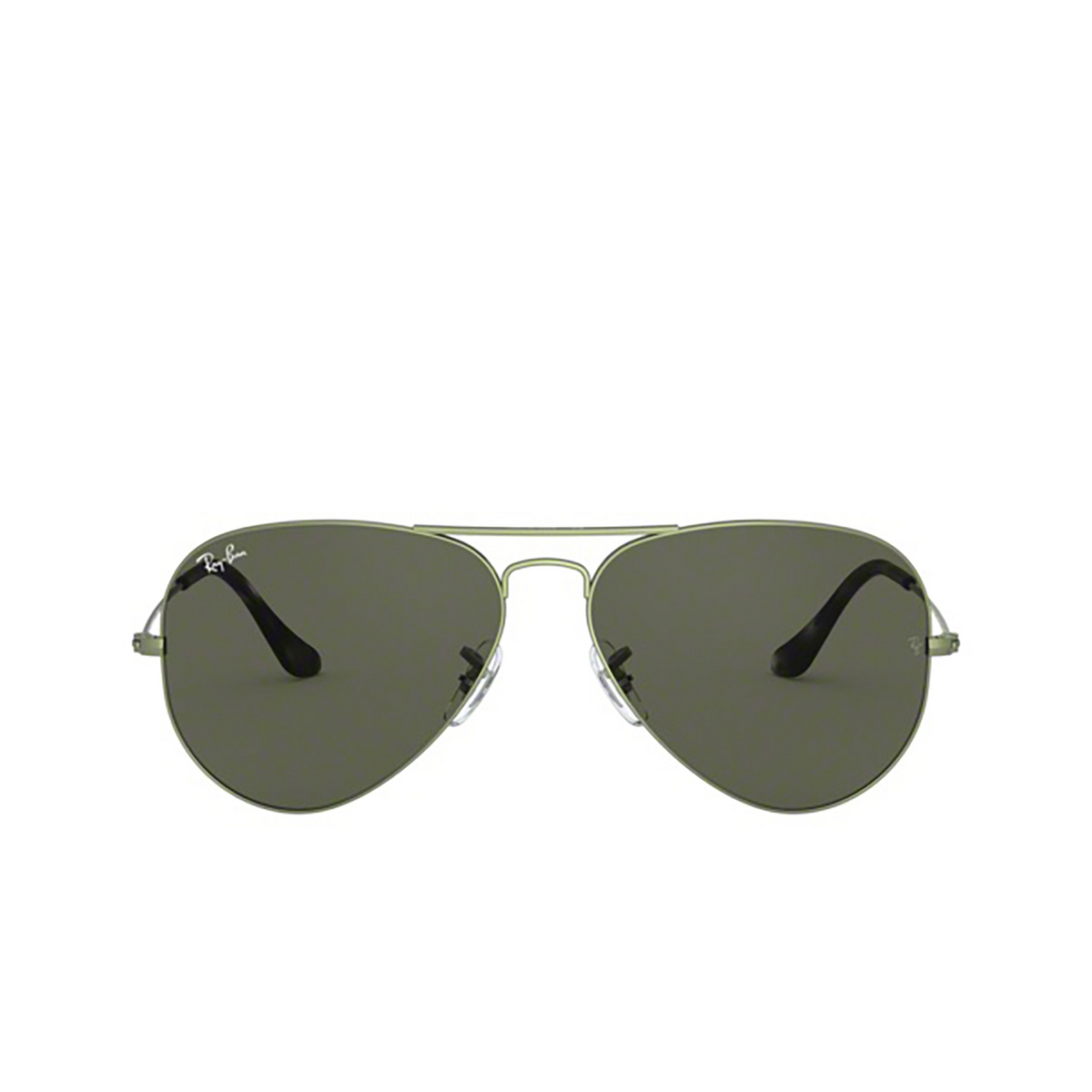 Ray-Ban® Aviator Sunglasses: Aviator Large Metal RB3025 color Sand Transparent Green 919131 - front view.