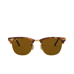 Ray-Ban® Square Sunglasses: Clubmaster RB3016 color Spotted Brown Havana 1160.