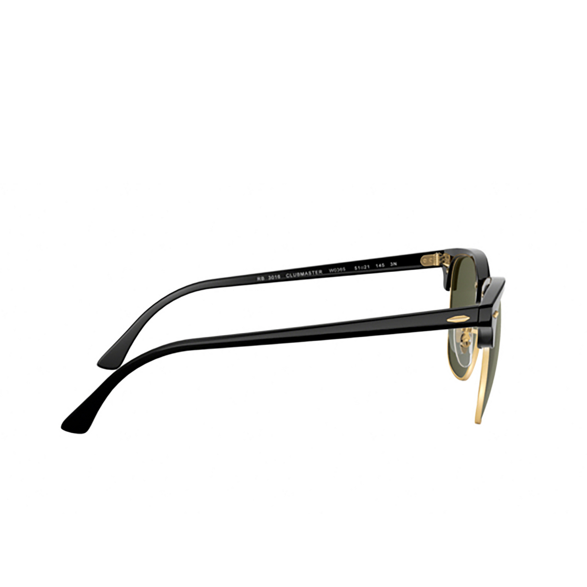 Ray-Ban® Square Sunglasses: Clubmaster RB3016 color Black On Arista W0365 - 3/3.