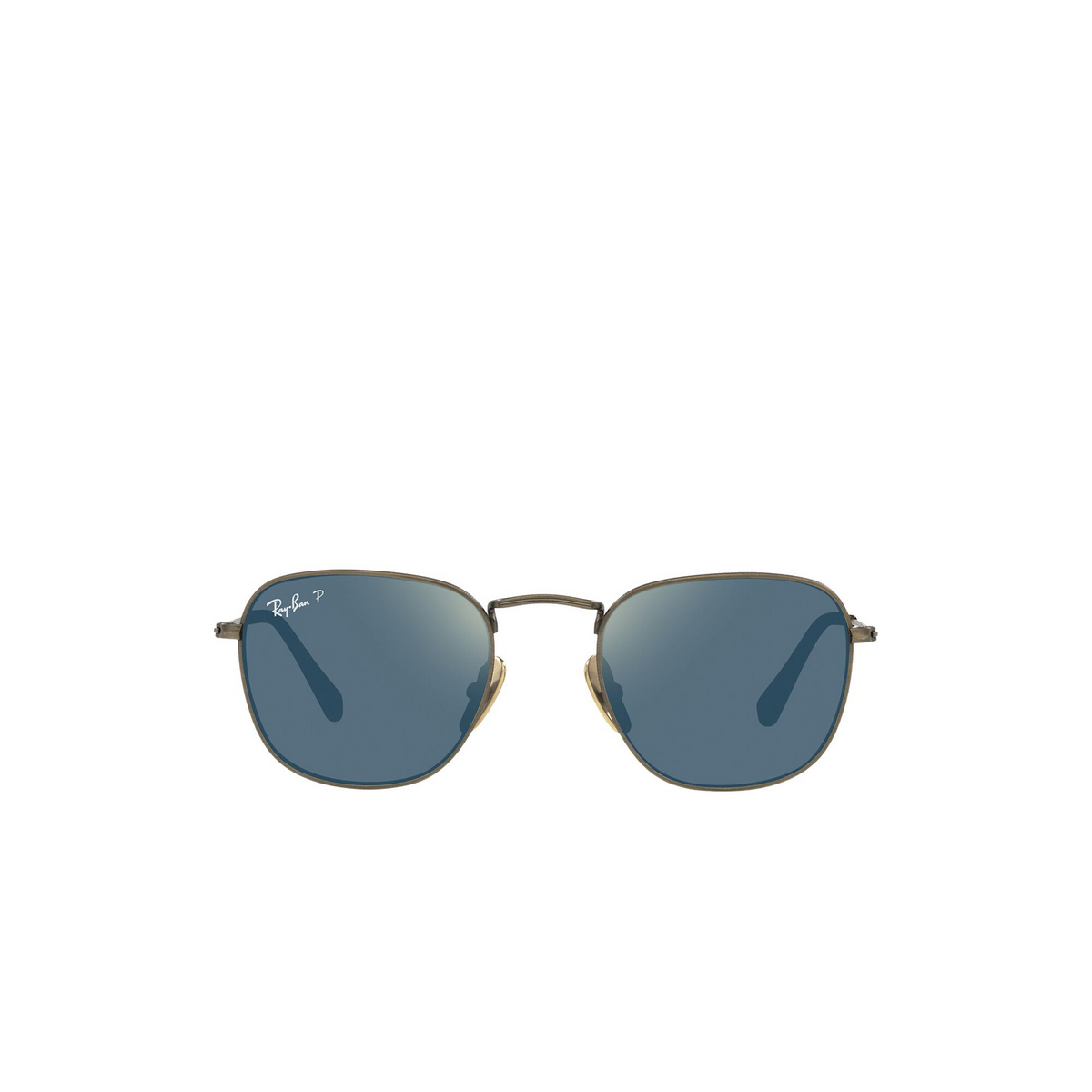 Ray-Ban® Square Sunglasses: Frank RB8157 color Demigloss Antique Gold 9207T0 - front view.
