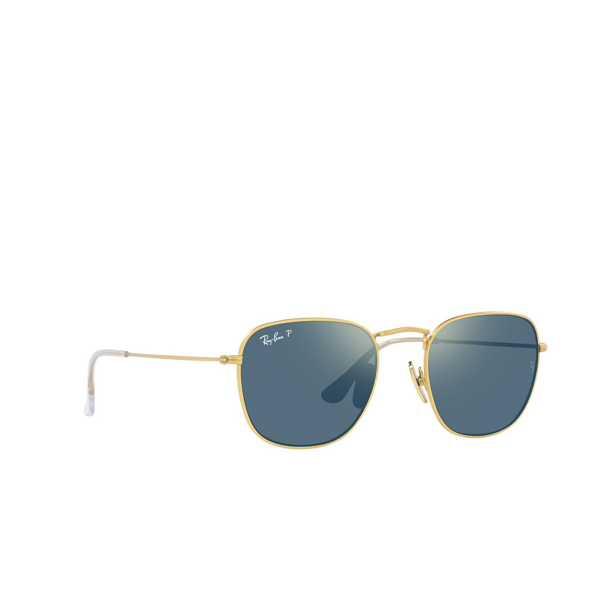 Ray-Ban® Square Sunglasses: Frank RB8157 color Demigloss Brushed Gold 9217T0 - three-quarters view.