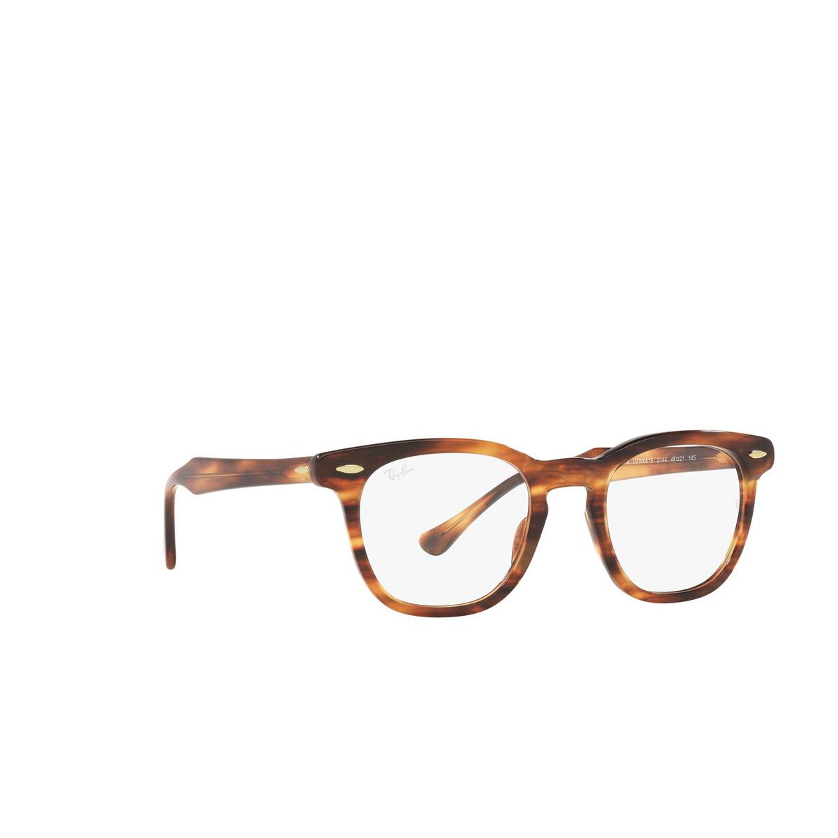 Ray-Ban® Square Eyeglasses: Hawkeye RX5398 color Striped Havana 2144 - three-quarters view.