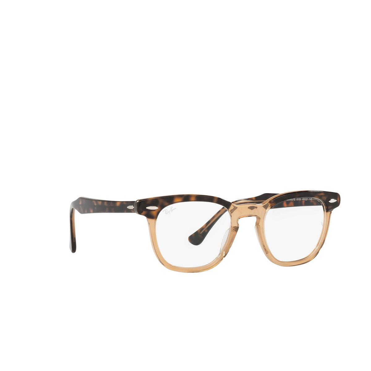 Ray-Ban® Square Eyeglasses: Hawkeye RX5398 color Havana On Transparent Brown 8109 - three-quarters view.