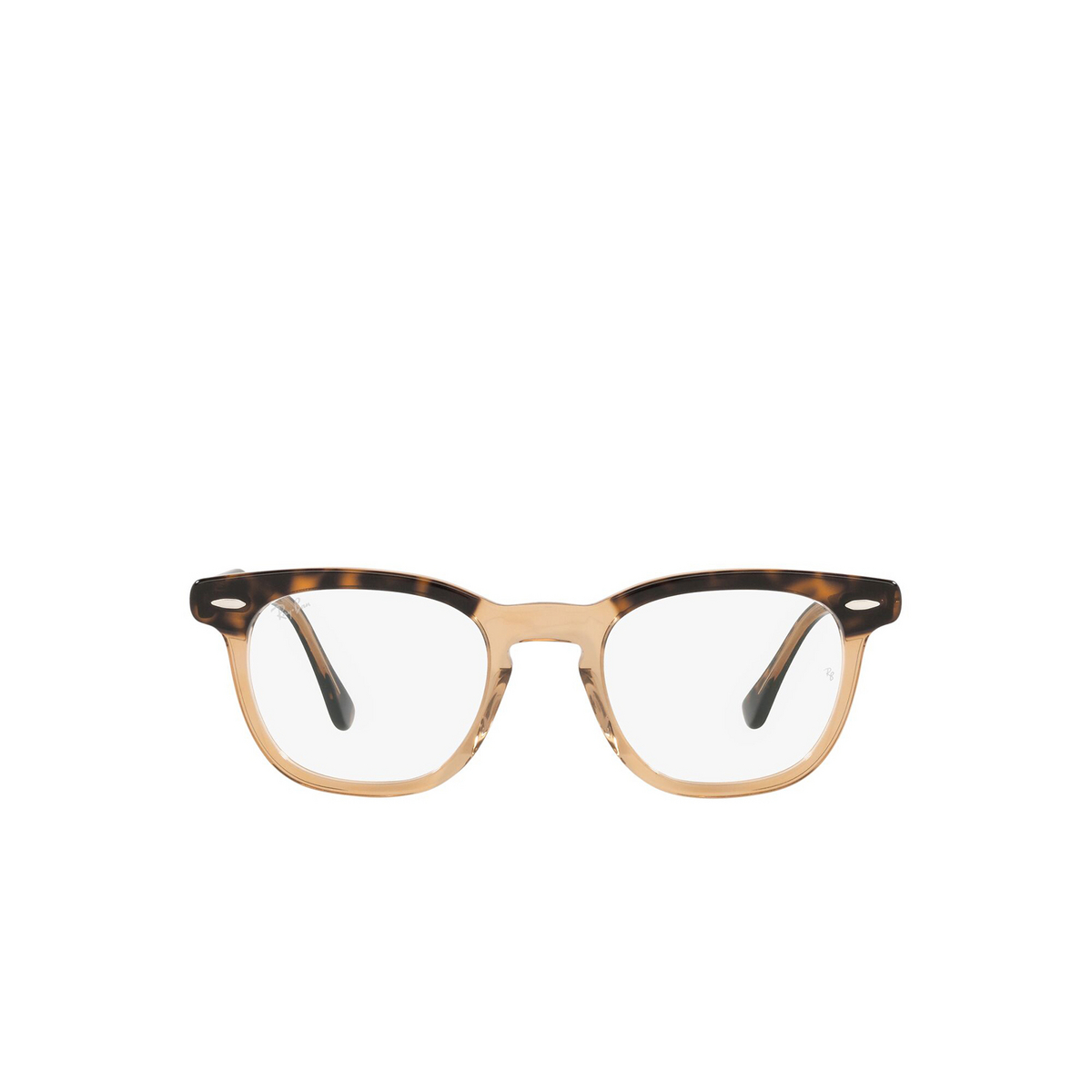 Ray-Ban® Square Eyeglasses: Hawkeye RX5398 color Havana On Transparent Brown 8109 - front view.