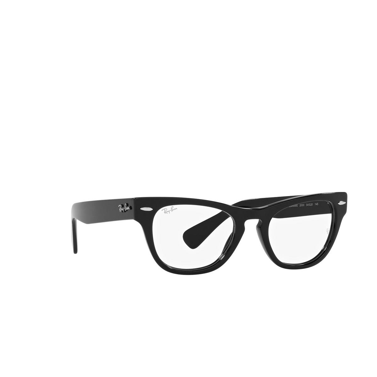 Ray-Ban® Cat-eye Eyeglasses: Laramie RX2201V color Black 2000 - three-quarters view.