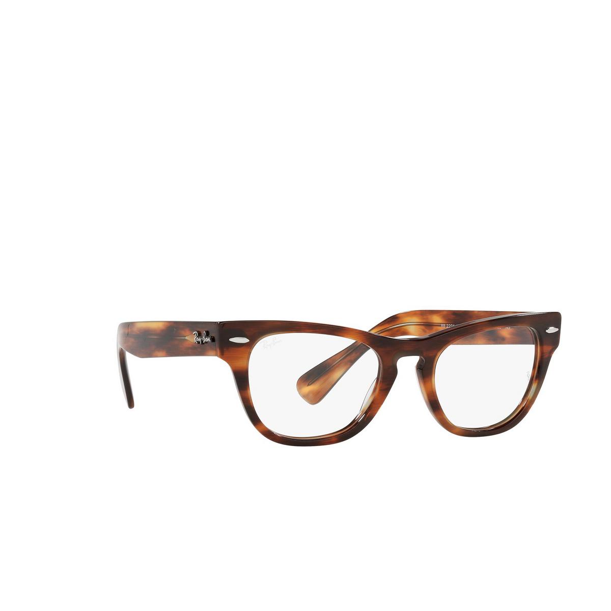 Ray-Ban® Cat-eye Eyeglasses: Laramie RX2201V color Striped Havana 2144 - three-quarters view.
