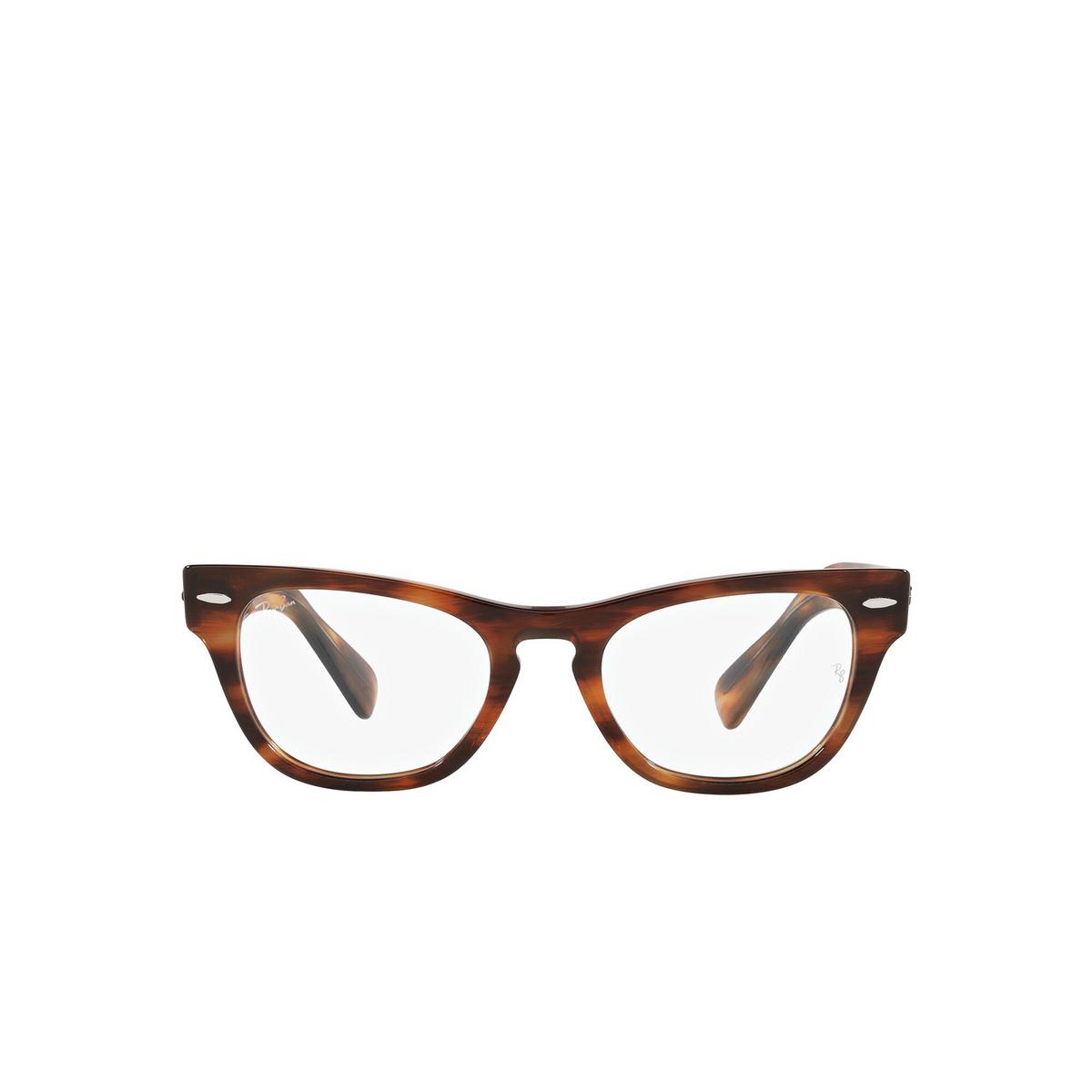Ray-Ban® Cat-eye Eyeglasses: Laramie RX2201V color Striped Havana 2144 - front view.