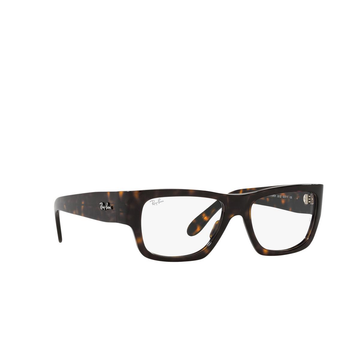 Ray-Ban® Square Eyeglasses: Nomad Wayfarer RX5487 color Havana 2012 - three-quarters view.