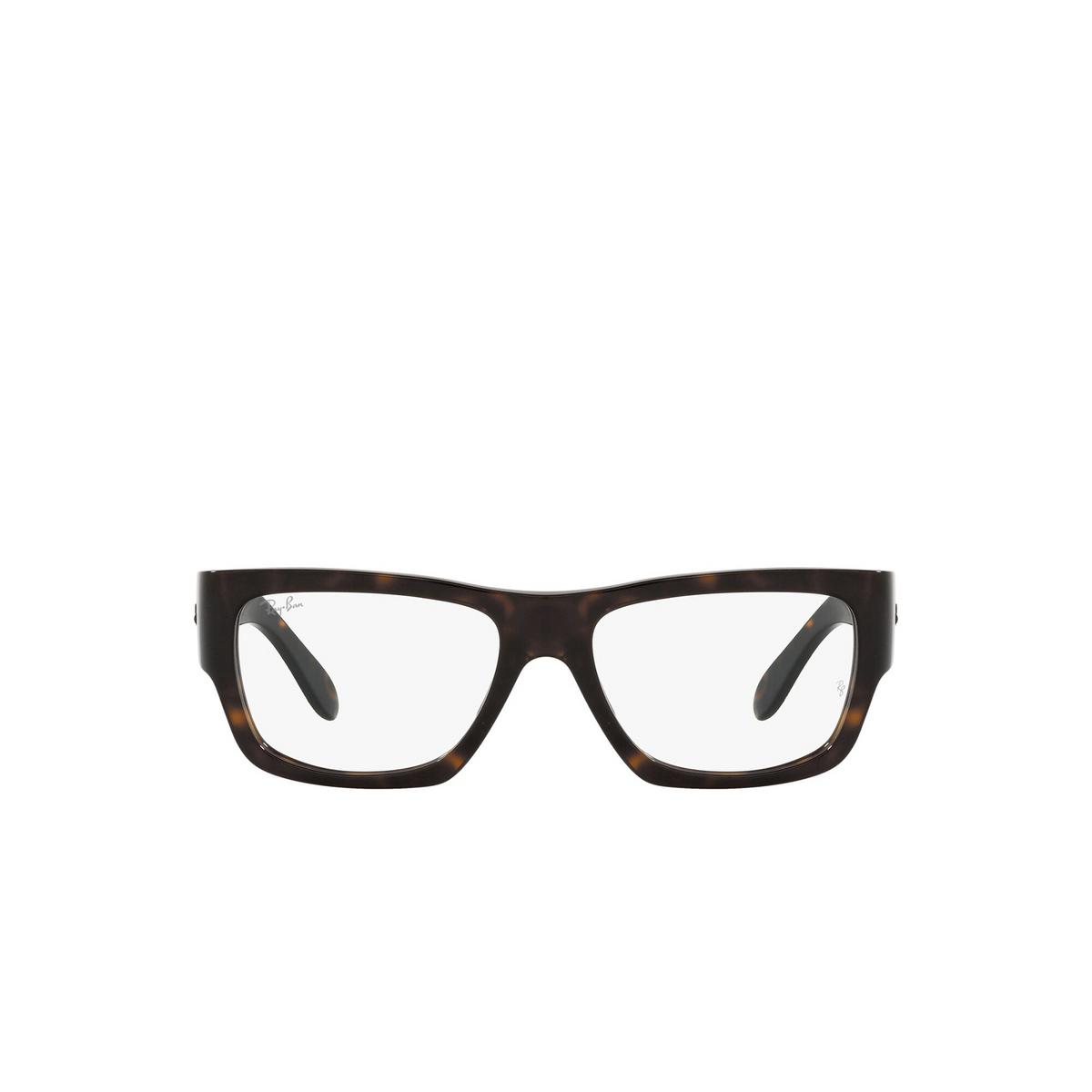 Ray-Ban® Square Eyeglasses: Nomad Wayfarer RX5487 color Havana 2012 - front view.