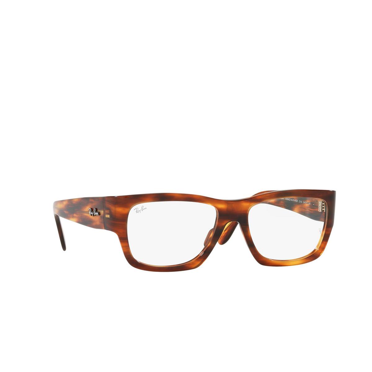 Ray-Ban® Square Eyeglasses: Nomad Wayfarer RX5487 color Striped Havana 2144 - three-quarters view.