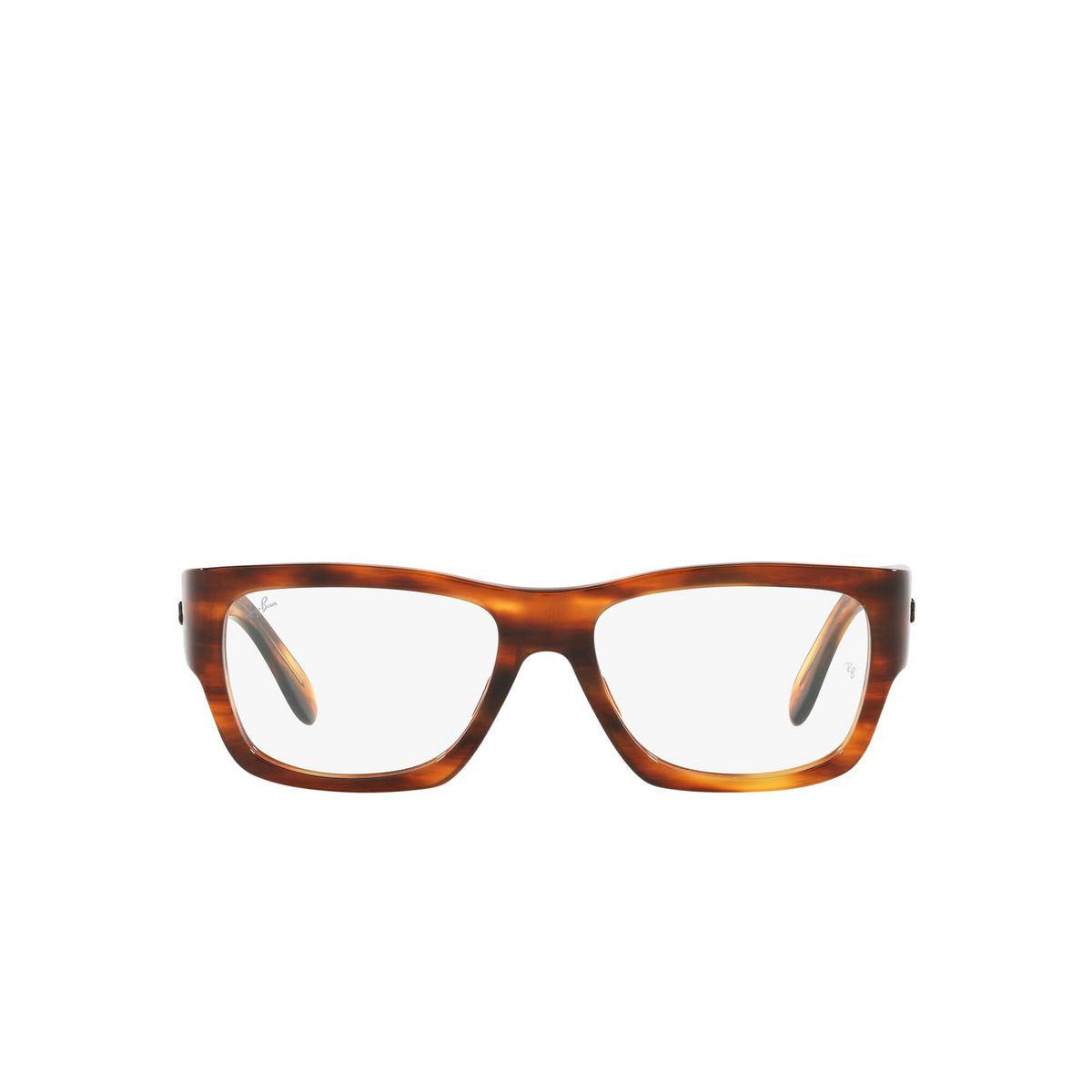 Ray-Ban® Square Eyeglasses: Nomad Wayfarer RX5487 color Striped Havana 2144 - front view.