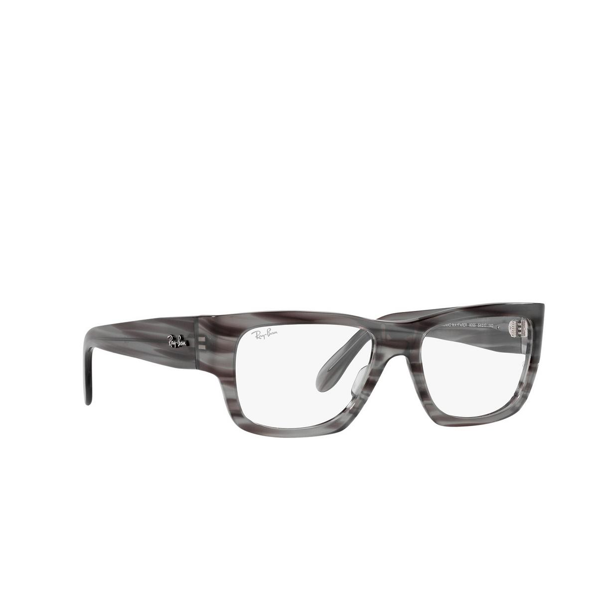 Ray-Ban® Square Eyeglasses: Nomad Wayfarer RX5487 color Striped Grey 8055 - three-quarters view.